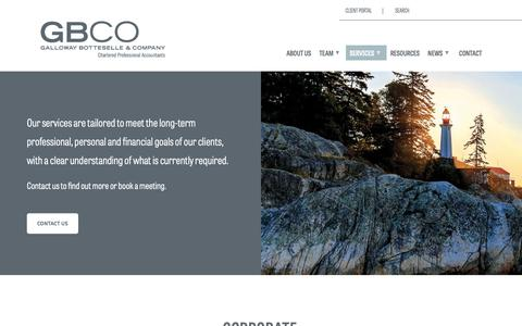 Screenshot of Services Page gbco.ca - Services | Galloway Botteselle - captured Sept. 27, 2018