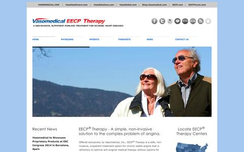 Screenshot of Home Page eecp.com - EECP® Therapy | A Non-Invasive, Outpatient, Painless Treatment for Ischemic Heart Diseases - captured March 17, 2016