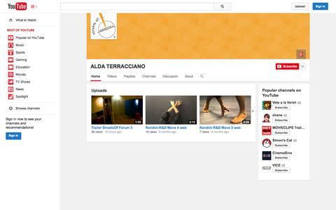 Screenshot of YouTube Page youtube.com - ALDA TERRACCIANO  - YouTube - captured Oct. 23, 2014