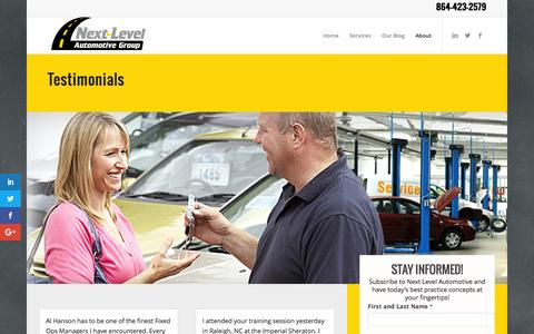 Screenshot of Testimonials Page nextlevelautomotivegroup.com - Testimonials about our Sales and Service Training Automotive Experts - captured Dec. 18, 2016