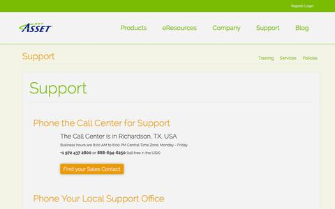 Screenshot of Support Page asset-intertech.com - Support | ASSET InterTech - captured Feb. 5, 2016