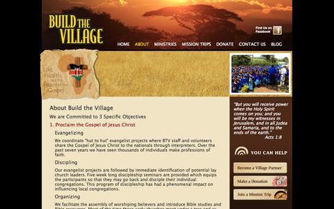 Screenshot of About Page buildthevillage.org - About Mission Work in Africa by Build The Village - captured Oct. 26, 2014