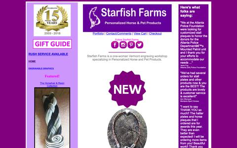 Screenshot of Home Page starfishfarms.com - Personalized Horse Products - STARFISH FARMS PERSONALIZED HORSE & PET PRODUCTS HOME - captured Sept. 27, 2018