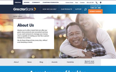 Screenshot of About Page greater.com.au - About Us | Greater Bank Limited - captured June 23, 2017