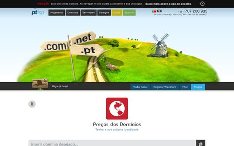 Screenshot of Pricing Page ptisp.pt - Alojamento Cloud, Domínios, hosting, servidores, e-Commerce, vps, mail >> PTisp - captured Sept. 23, 2014