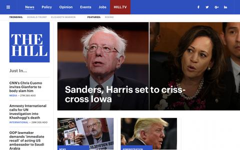 Screenshot of Home Page thehill.com - The Hill - covering Congress, Politics, Political Campaigns and Capitol Hill - captured Oct. 20, 2018
