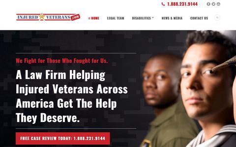 Screenshot of Home Page injuredveterans.com - Disabled Veterans Benefits Attorneys | Injured Veterans – Veterans Disability Lawyers - captured Sept. 14, 2018