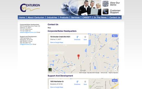 Screenshot of Maps & Directions Page centurioncares.com - Map | Contact Center Software- Centurion - captured Oct. 2, 2014