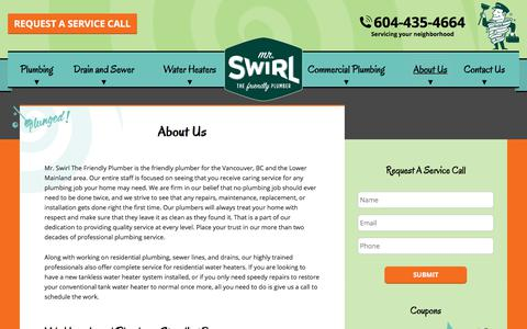Screenshot of About Page mrswirl.com - About Us | Mr. Swirl the Friendly Plumber - captured July 10, 2018