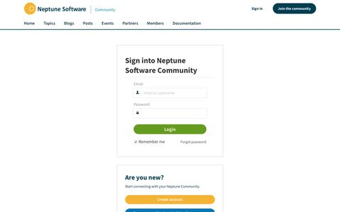 Screenshot of Login Page neptune-software.com - Neptune Software Community - captured June 17, 2017