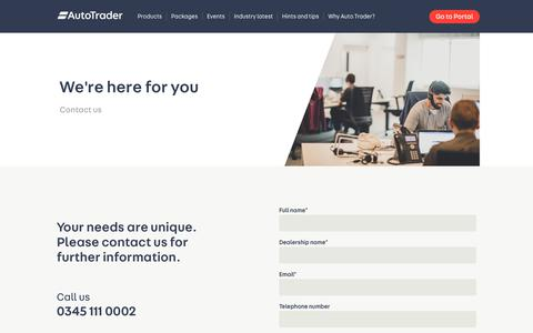 Screenshot of Contact Page autotrader.co.uk - Get in touch with us - captured Nov. 12, 2018