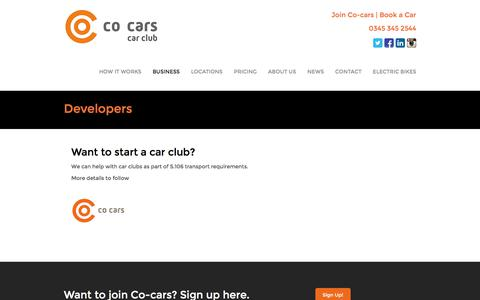 Screenshot of Developers Page co-cars.co.uk - Developers - Co-carsCo-cars - captured Sept. 20, 2017