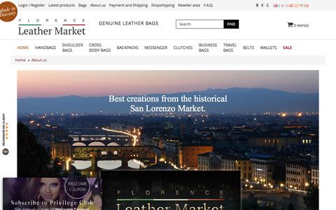 Screenshot of About Page florenceleathermarket.com - Italy Fashion Handbags | Handmade in Italian Leather Factory - captured April 4, 2017