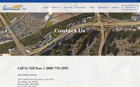 Screenshot of Contact Page enviromineinc.com - Contact Us — EnviroMINE, Inc. - captured Nov. 5, 2018