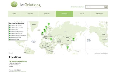 Screenshot of Contact Page Locations Page itecsolutions.com - Locations - iTec Solutions | iTec Solutions - captured Oct. 23, 2014
