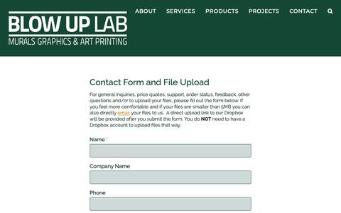 Screenshot of Support Page blowuplab.com - Contact Form and Upload - Full-Service Murals, Photos, Graphics and Art Printing by Blow Up Lab - captured Nov. 6, 2018
