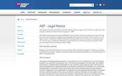 AEP.com - Terms & Conditions