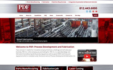 Screenshot of Home Page pdf-inc.com - Parts Manufacturing, Fabrication, Electronic Controls | PDF, Inc. - captured May 11, 2017