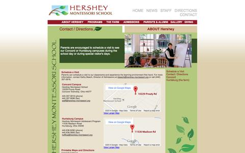 Screenshot of Contact Page Maps & Directions Page hershey-montessori.org - Hershey Montessori School - captured Oct. 22, 2014