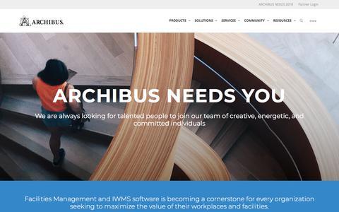 Screenshot of Jobs Page archibus.com - Careers | ARCHIBUS - captured April 2, 2018
