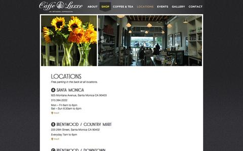 Screenshot of Locations Page caffeluxxe.com - Caffe Luxxe  |  Locations - captured Sept. 30, 2014