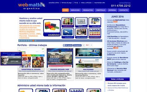 Screenshot of Home Page web-matter.com.ar - Web Matter Argentina :: Desarrollo Web, E-mail Marketing, Posicionamiento, Programacion PHP y ASP, Diseño Web, E-commerce, Portales - captured June 5, 2016
