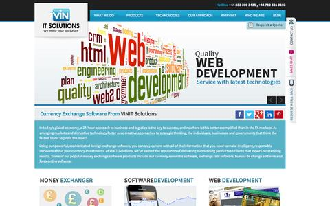 Screenshot of Home Page vinitsolutions.com - VinIT Solutions | Money Transfer Software, Currency Exchange Software - captured Sept. 30, 2014