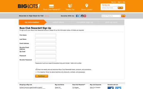 Screenshot of Signup Page biglots.com - Buzz Club Rewards® Sign Up | My Information - captured Sept. 18, 2014