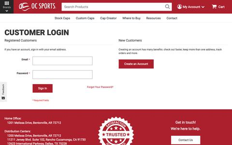 Screenshot of Login Page outdoorcap.com - Customer Login   Outdoor Cap - Team Headwear - captured Oct. 23, 2018