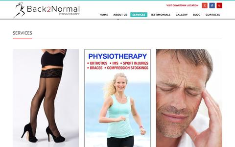 Screenshot of Services Page back2normal.ca - Physiotherapy and Orthotics Services in West Vancouver. - captured Nov. 22, 2016
