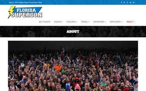 Screenshot of About Page floridasupercon.com - About - Florida Supercon - captured July 7, 2019