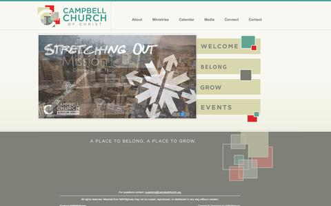 Screenshot of Home Page campbellchurch.org - Campbell Church of Christ - captured Oct. 20, 2016