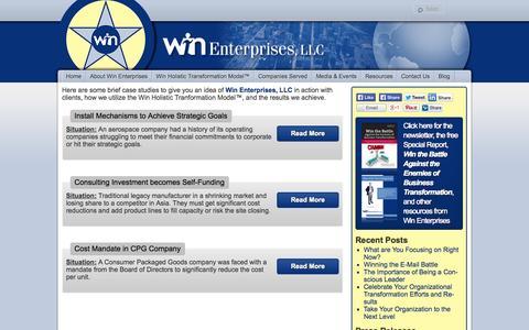 Screenshot of Case Studies Page winenterprisesllc.com - Case Studies   Win Enterprises, LLC - captured Oct. 7, 2014