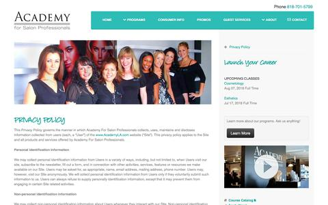 Screenshot of Privacy Page academyla.com - Beauty School Los Angeles - Academy For Salon Professionals LA - captured July 10, 2018