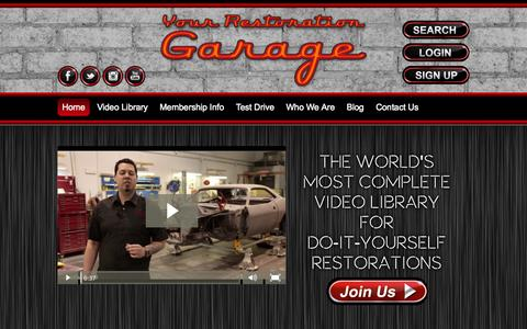 Screenshot of Home Page yourrestorationgarage.com - Video Library for Do It Yourselfers | Your Restoration Garage - captured Oct. 12, 2014