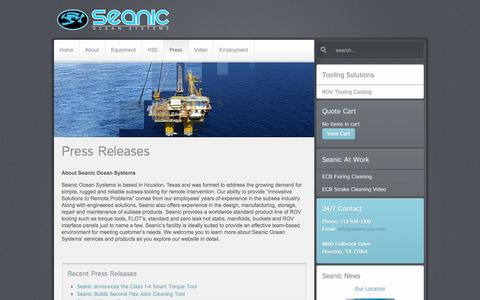 Screenshot of Press Page seanicusa.com - Seanic Ocean Systems | Latest News - captured Sept. 19, 2014