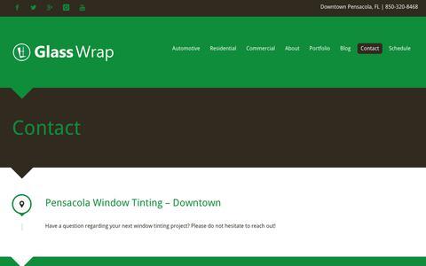 Screenshot of Contact Page glasswrap.com - Contact - captured Nov. 29, 2018