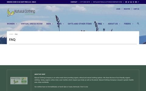 Screenshot of FAQ Page naturalclothingcompany.com - FAQ - captured Nov. 7, 2018