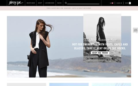 Screenshot of Home Page nastygal.com - Nasty Gals Do It Better. Shop Clothing, Shoes & Vintage | Nasty Gal - captured July 11, 2014