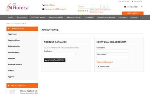 Screenshot of Login Page 24horeca.nl - Uw account - 24horeca.nl - captured Oct. 18, 2017