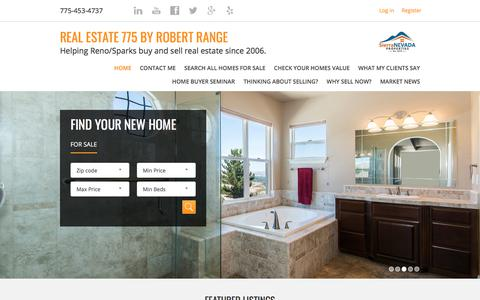 Screenshot of Home Page realestate775.com - Real Estate 775 by Robert Range.  REALTOR® with Sierra Nevada Properties. - captured Nov. 12, 2017