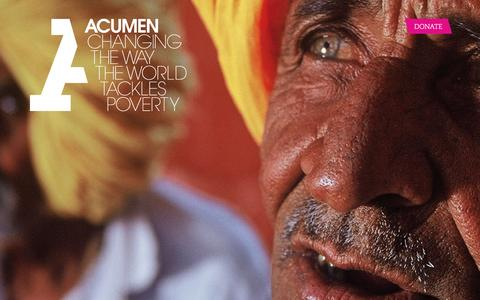Screenshot of Home Page acumen.org - Acumen is a Bold New Way of Tackling Poverty - captured Feb. 20, 2016