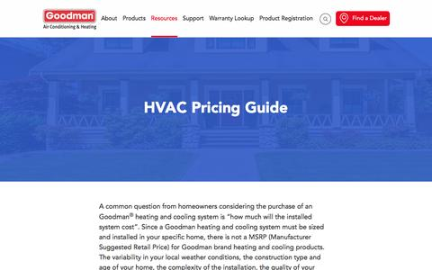 Screenshot of Pricing Page goodmanmfg.com - Goodman Air Conditioner and Furnace Pricing Guide - captured Oct. 25, 2016