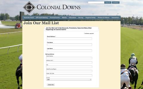 Screenshot of Signup Page colonialdowns.com - Join the Colonial Downs Mail List - captured Sept. 30, 2014