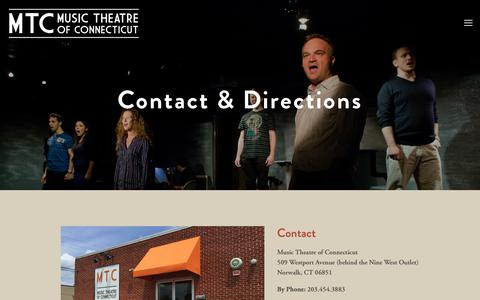Screenshot of Maps & Directions Page musictheatreofct.com - Contact & Directions — Music Theatre of Connecticut - captured Dec. 21, 2018