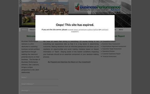Screenshot of Home Page bpa-kc.com - Business Performance Advisor Home page - captured Oct. 13, 2018
