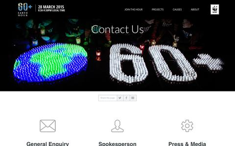 Screenshot of Contact Page earthhour.org - Contact Us | EARTH HOUR - captured Sept. 19, 2014