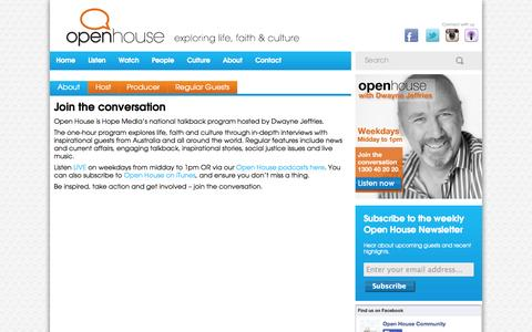 Screenshot of About Page openhousecommunity.com.au - About Open House - interview show exploring life, faith and culture. - captured Oct. 26, 2014
