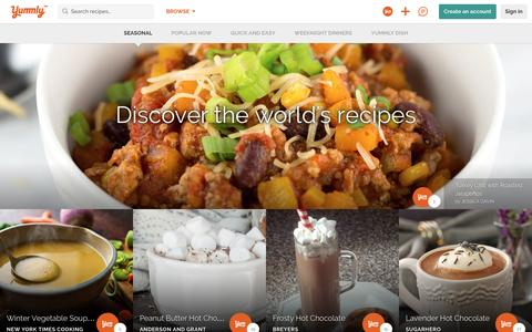 Screenshot of Home Page yummly.com - The Best Site For Recipes, Recommendations, Food And Cooking | Yummly - captured Jan. 18, 2016
