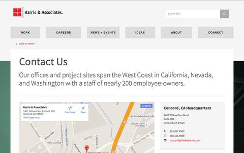 Screenshot of Contact Page Maps & Directions Page weareharris.com - Contact Us - Harris & Associates - captured Jan. 26, 2016